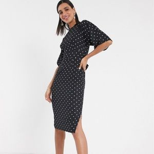 Closet London Polka Dot Kimono Sleeve Midi Dress